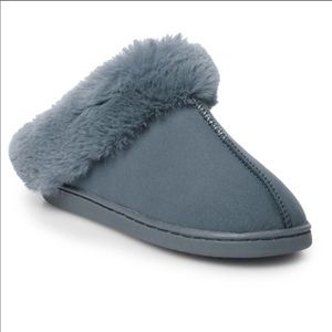 LAUREN CONRAD Size SMALL 5-6 Faux FUR POM GREY SLIPPERS /& SLEEP MASK Bunny Ears